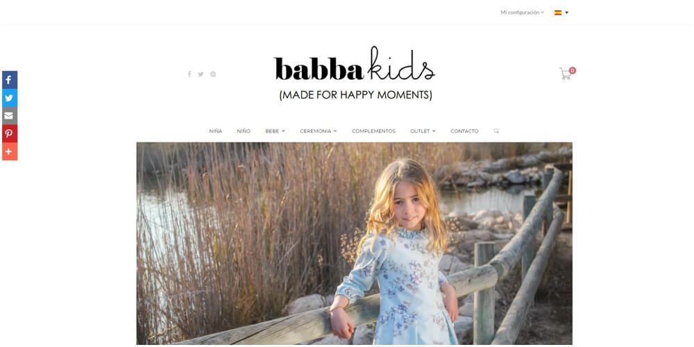 Diseño de tienda on-line para ropa de niño y niña