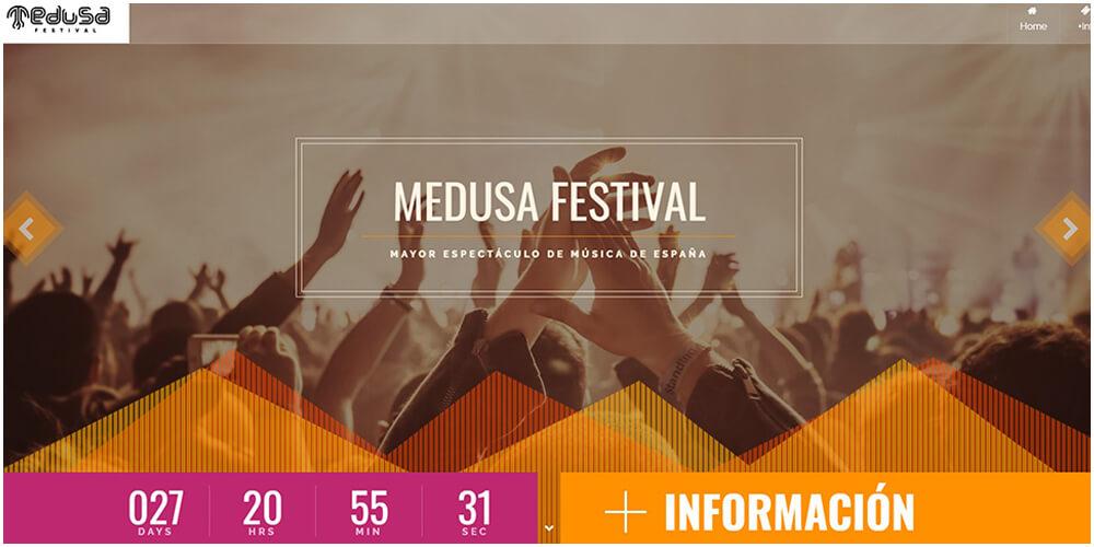 diseño de landing page para empresa de eventos y conciertos